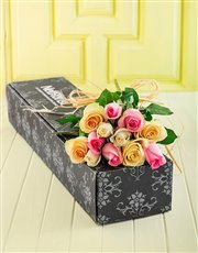 Pastel Roses in a Box