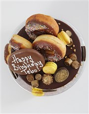 Personalised Gold Chocolate and Doughnut Drip Cake