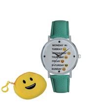 Emoji Cyber Smiley and Weekday Quartz Watch, With