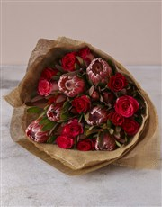 Red Rose &Protea Medley Bouquet