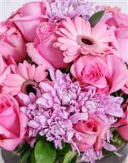 A beautiful bouquet of pink sprays, roses and gerb