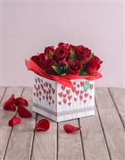 Red Roses in Heart Box