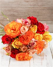 A bouquet of luscious mixed Ethiopian roses. These
