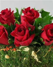 Red roses and green filler presented in a gorgeous