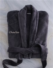 Personalised Charcoal Fleece Gowns - Large and XL