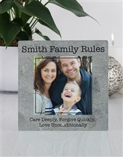 Keep the joy of family alive with this glass photo
