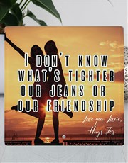 Celebrate your friendship with this glass photo fr