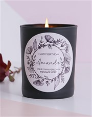 Personalised Black Wreath Happy Birthday Candle
