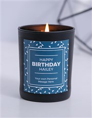 Personalised Black Triangle Happy Birthday Candle
