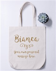 Say it best with this glittery poly cotton tote ba