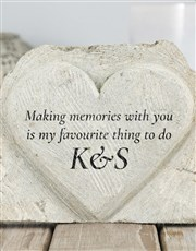 Make memories with a stone heart which is engraved