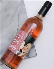 Personalised Photo Love You Mom Wine