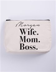 Personalised Wife Mom Boss Cosmetic Bag