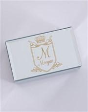 Personalised Vintage Crest Mirror Trinket Box