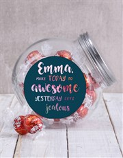 Make today awesome with this clear candy jar with