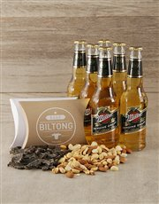 This gift box includes a 6 pack of Millers beer, b