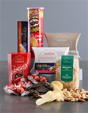 A gift box containing a variety of snacks like chi