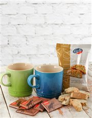 Le Creuset Coffee Mugs with Chocolates & Biscotti
