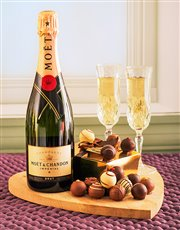 Moet Champagne & Assorted Chocolate Truffles.
