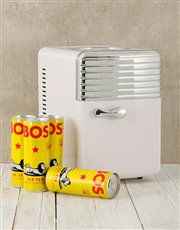 Send this desk Fridge black with a pack of Bos Ice