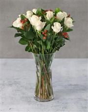 Cream Roses with Hypericum in Vase