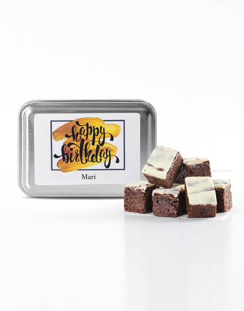 brownies: Personalised Birthday White Choc Chunk Brownie Tin!