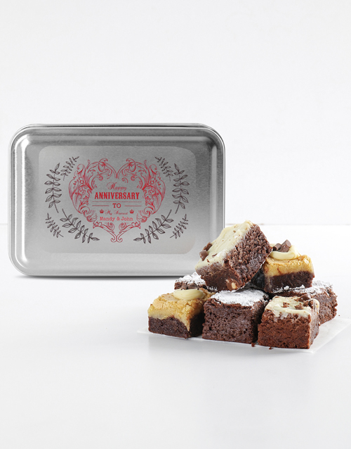 brownies: Personalised Anniversary Chocfull Brownie Tin!
