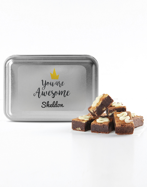 brownies: Personalised You're Awesome Assorted Brownie Tin!
