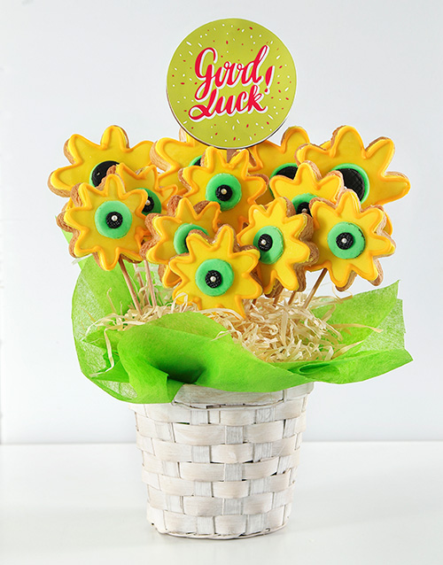 cookies-and-biscuits: Personalised Good Luck Sunshine Cookie Bouquet!