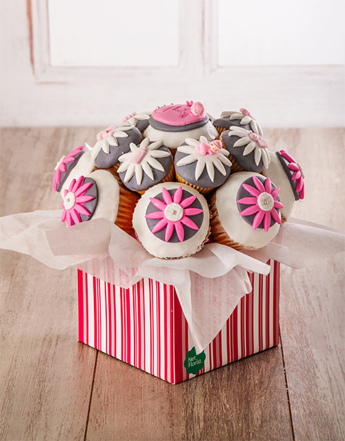 baby: Welcome Baby Girl Cupcake Bouquet !