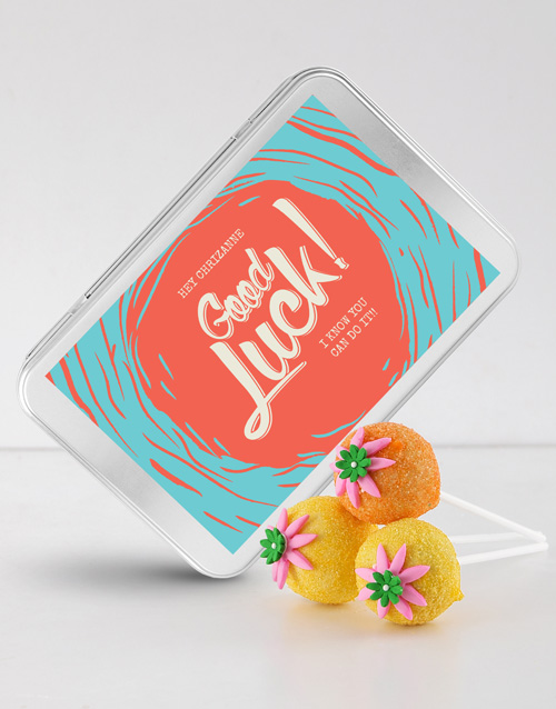 cake-pops: Good Luck Cake Pops in a Personalised Tin!
