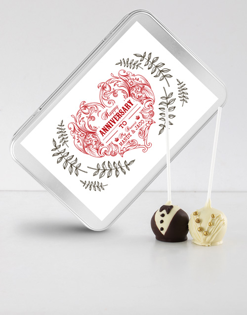 personalised: Anniversary Cake Pops in a Personalised Tin!