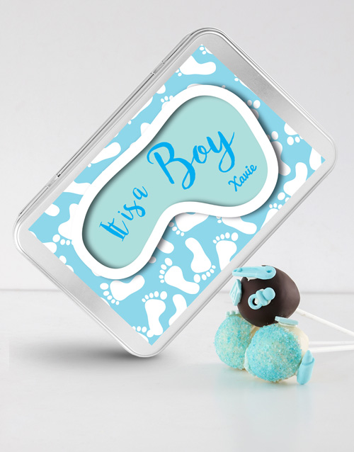 personalised: New Baby Boy Cake Pops in a Personalised Tin!