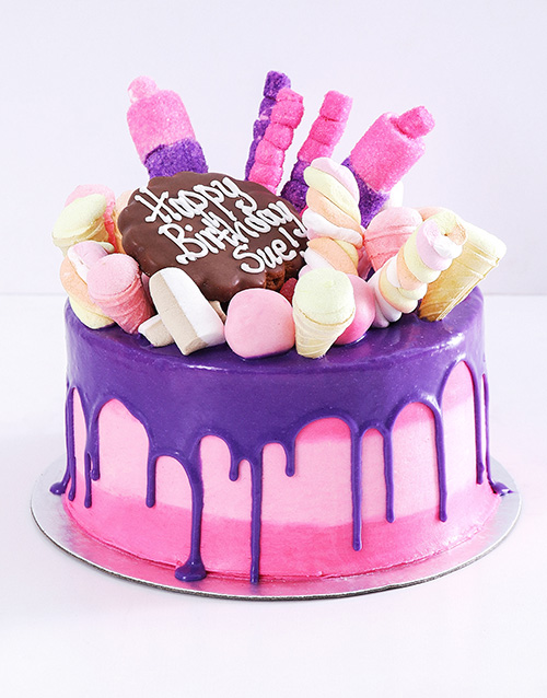 cakes: Personalised Pink Popping Drip Cake!