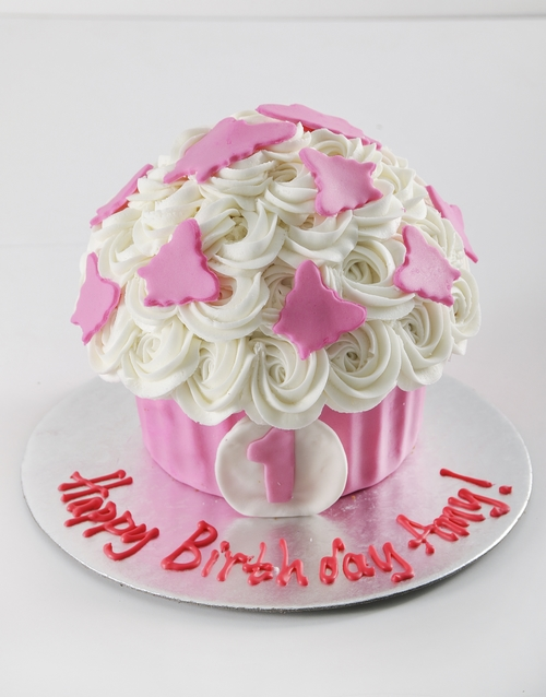 giant-cupcakes: Personalised First Birthday Girl Smashcake!