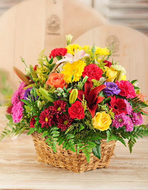 birthday: Bright Country Flowers in a Basket!