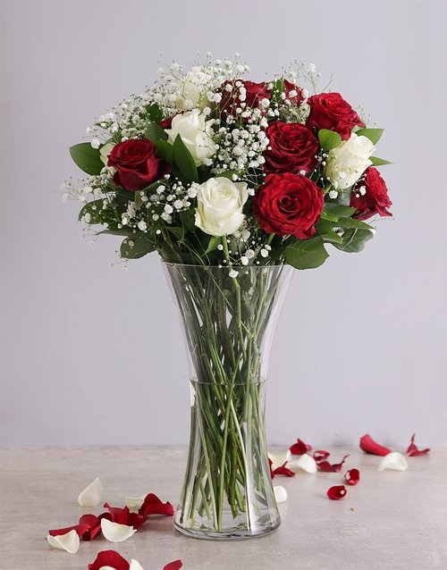bestsellers: Full Red and White Roses in a Vase!