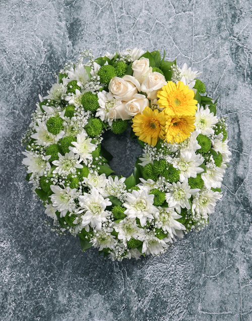 sympathy: Wreath of Yellow Gerberas and Roses!