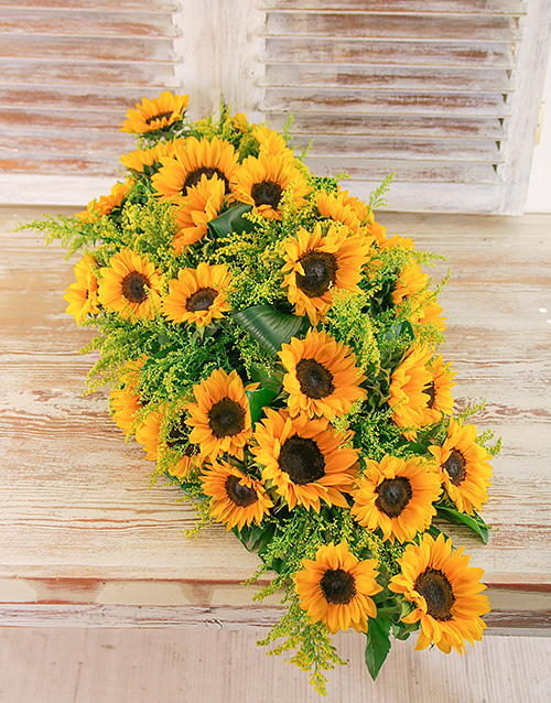 Flowers: Sunflower Funeral Coffin Display!