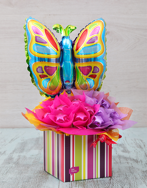 birthday: Colourful Butterfly Edible Arrangement!