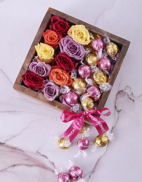 edible-chocolate-arrangements: Delightful Roses and Lindt Crate!