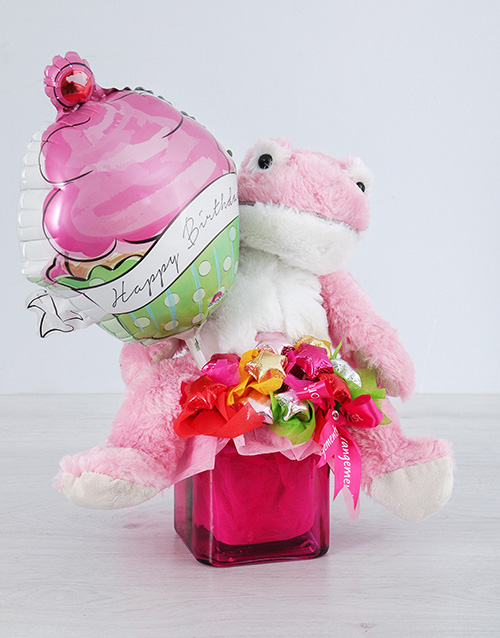 edible-chocolate-arrangements: Pink Froggy Choc Star and Cupcake Balloon Vase!