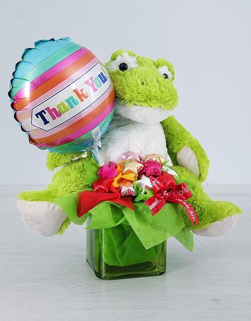 teddy-bears: Green Froggy Choc Star and Thank You Balloon Vase!