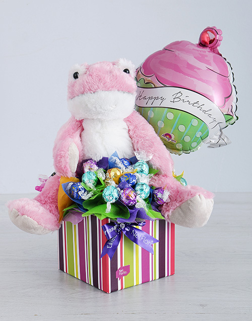 birthday: Pink Froggy Lindt and Cupcake Balloon Box!