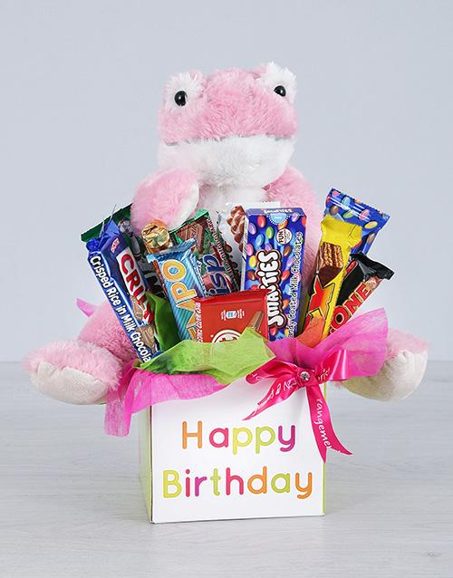 teddy-bears: Pink Birthday Frog and Choc Box!