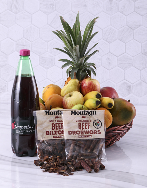 gourmet: Fruit with Sparkling Juice and Biltong Gift!