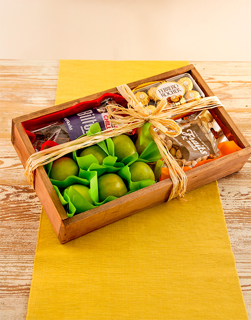 wooden-crates: Rustic Gift Crate of Fruit and Snacks!