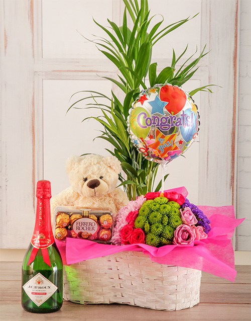 balloon: Congratulations Bubbly Plant Basket!