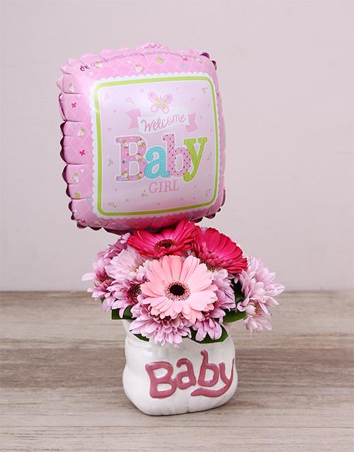 baby: Baby Girl Ceramic Baby Bag & Balloon!