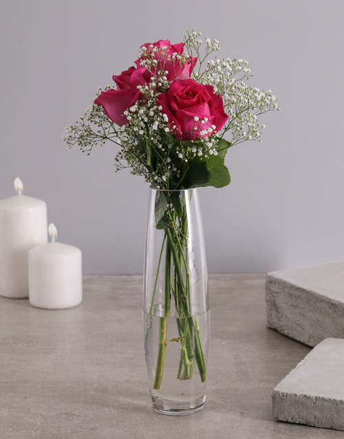 love-and-romance: 3 Cerise Roses in a Glass Vase!